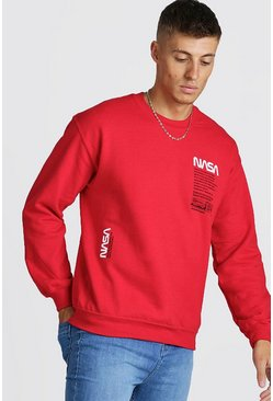 Herr Red NASA License Print Sweatshirt