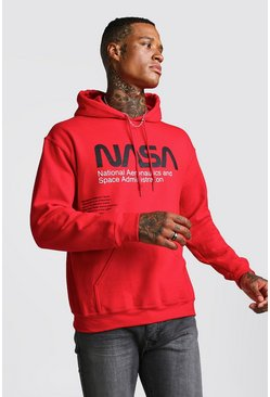 Mens Red NASA License Hoodie