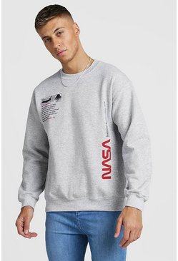 Grey NASA License Label Print Sweatshirt
