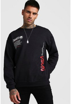 Black NASA License Label Print Sweatshirt