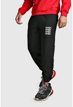 Black NASA License Print Joggers