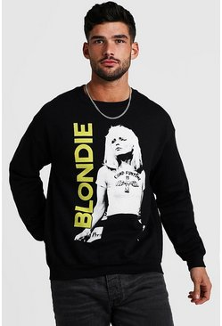 Mens Black Blondie Loose Fit License Sweatshirt