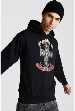 Herr Black Loose Fit Guns & Roses License Hoodie