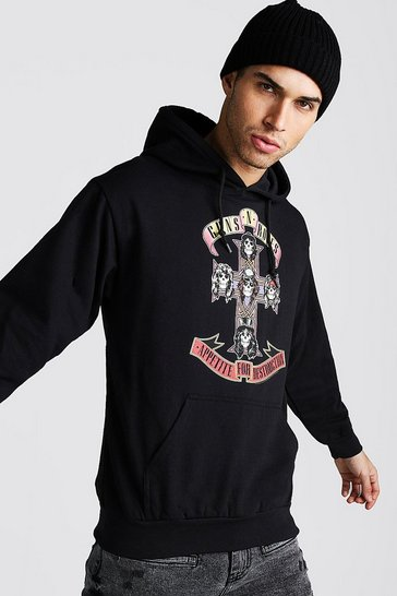 Mens Black Loose Fit Guns & Roses License Hoodie