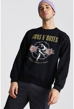 Mens Black Guns & Roses License Sweatshirt
