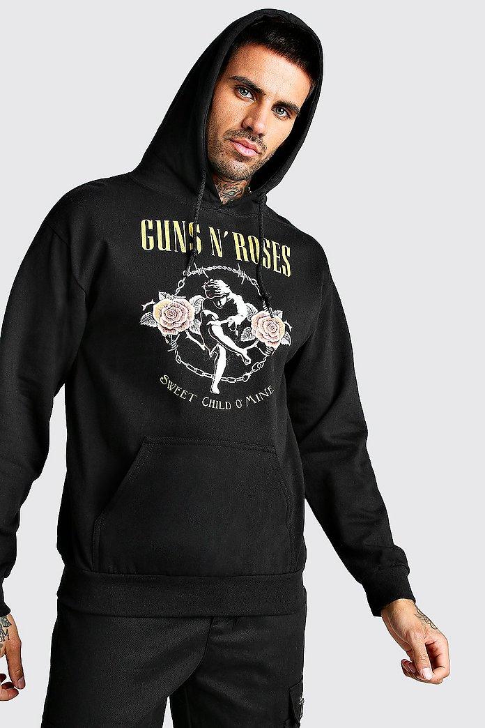 Mens Guns N Roses Back Print Graphics Stylish Hoodie