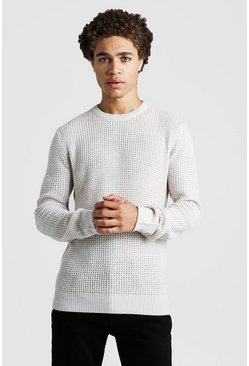 Mens Oatmeal Waffle Stitch Knitted Crew Neck Jumper