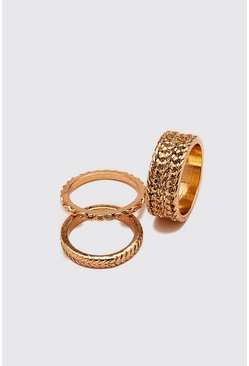 Gold Embossed Band Ring Set