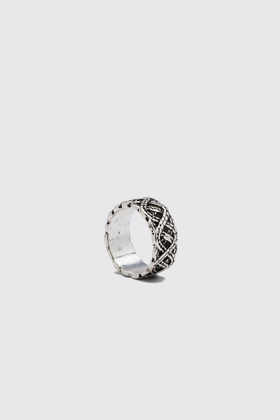 Silver Patterned Band Ring