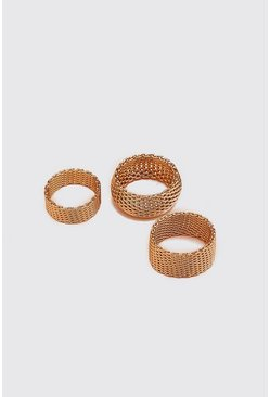 Gold Mesh Ring Set