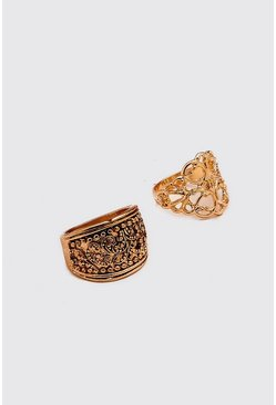 Gold Detailed Ring Set