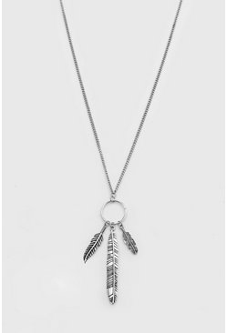Silver Feathers Pendant Necklace
