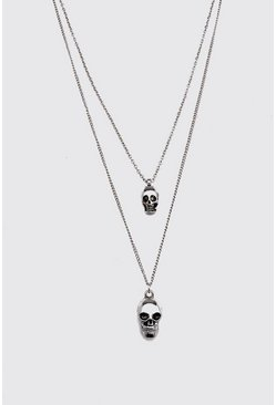 Silver Double Layer Skull Necklace