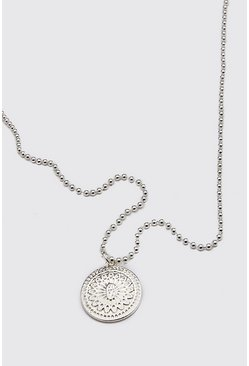 Silver Patterned Pendant Necklace