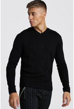 Mens Black Muscle Fit V-Neck Knitted Jumper