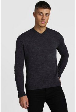 Mens Charcoal Muscle Fit V-Neck Knitted Jumper
