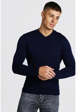 Mens Navy Muscle Fit V-Neck Knitted Jumper