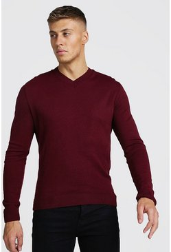 Muscle Fit V-Neck Knitted Jumper, Wine