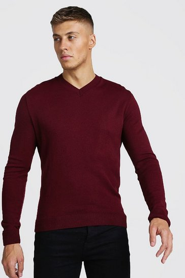 Wine Muscle Fit V-Neck Knitted Jumper