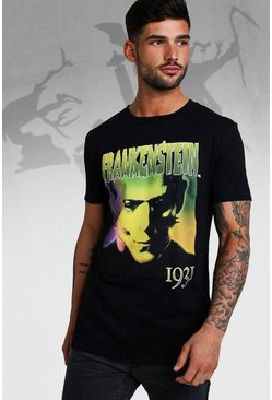 Mens Black Frankenstein License T-Shirt