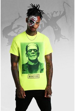 Mens Neon-yellow Frankenstein Photo License T-Shirt
