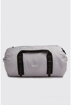 Mens Grey MAN Print Lightweight Holdall Bag