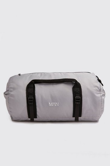 Grey MAN Print Lightweight Holdall Bag
