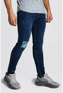 Mens Washed indigo Skinny Jeans With Abraisions