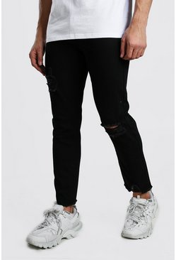 Jeans mit geradem Bein in Destroyed-Optik, Schwarz