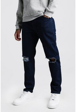 Slim Rigid Jeans With Busted Knees, Indigo, HOMBRE