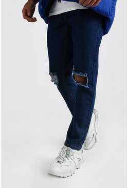 Slim Rigid Jeans With Busted Knees, Dark blue