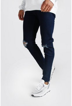 Mens Indigo Skinny Jeans With Rip Knees