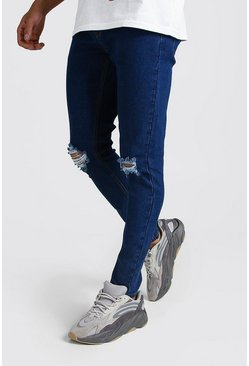 Mens Dark blue Skinny Jeans With Rip Knees