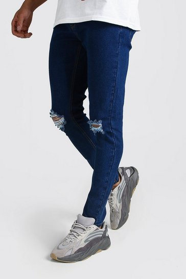 Dark blue Skinny Jeans With Rip Knees