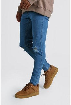Mens Light blue Skinny Jeans With Rip Knees