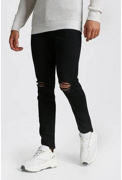 Skinny Jeans With Rip Knees, Black, HOMBRE