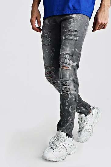 Charcoal Skinny Ripped Jeans With Bleach Effect