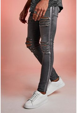 Herr Grey Super Skinny Distressed Jeans With Glitter Tape