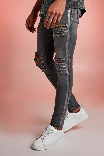 Mens Grey Super Skinny Distressed Jeans With Glitter Tape