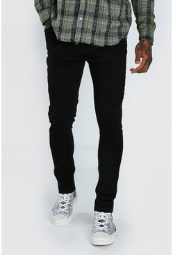 Skinny Jeans With Abraisions, Black