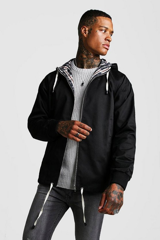 Black Hooded Lightweight Jacket