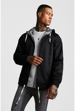 Mens Black Hooded Lightweight Jacket