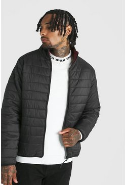 Mens Black Funnel Neck Quilted Jacket