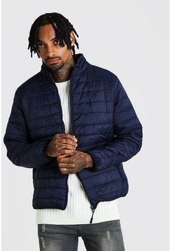 Mens Navy Funnel Neck Quilted Jacket