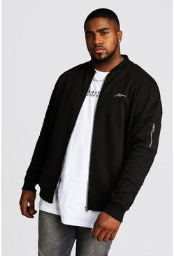 Mens Black Big and Tall MAN Script MA1 Jersey Bomber