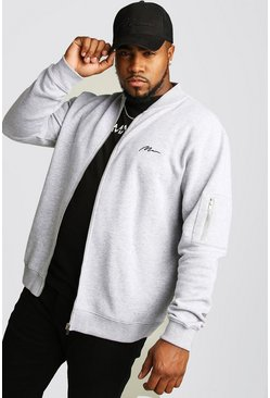 Grey marl Big and Tall MAN Script MA1 Jersey Bomber