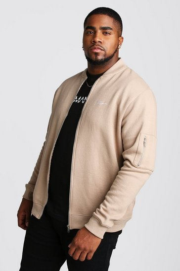 Taupe Big and Tall MAN Script MA1 Jersey Bomber