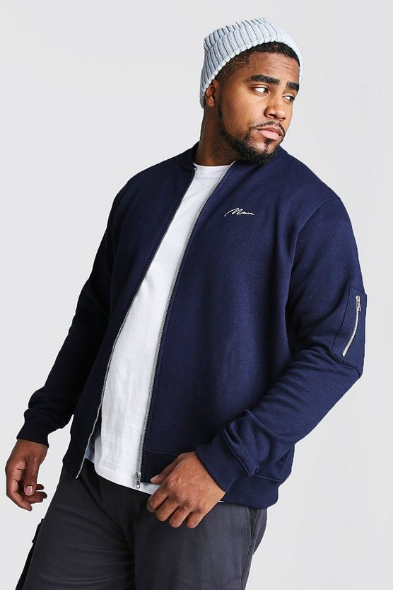 Navy Big and Tall MAN Script MA1 Jersey Bomber