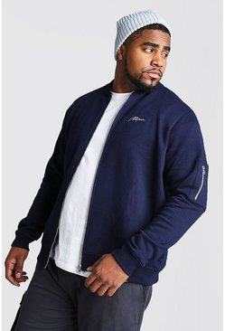 Big and Tall MAN Script MA1 Jersey Bomber, Navy, HOMBRE