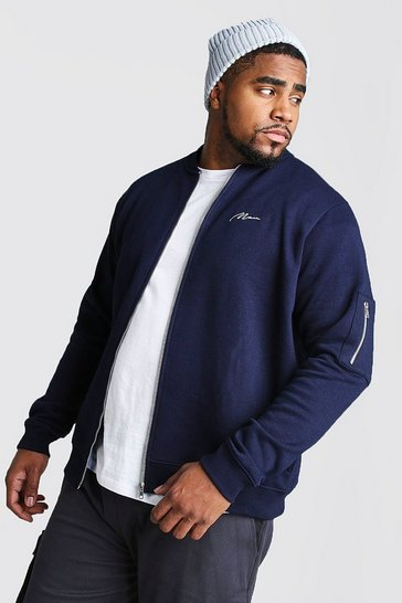 Mens Navy Big and Tall MAN Script MA1 Jersey Bomber